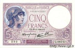 5 Francs VIOLET modifié FRANCE  1939 F.04.15 SPL