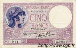 5 Francs VIOLET modifié FRANCE  1940 F.04.15 TTB+