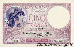 5 Francs VIOLET modifié FRANCE  1940 F.04.17 pr.SPL