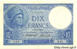 10 Francs MINERVE FRANCE  1916 F.06.01 SUP à SPL