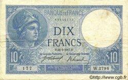 10 Francs MINERVE FRANCE  1917 F.06.02 TB+