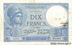10 Francs MINERVE FRANCE  1922 F.06.06 TB+