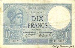 10 Francs MINERVE FRANCE  1923 F.06.07 TB+