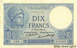 10 Francs MINERVE FRANCE  1926 F.06.11 TTB