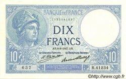 10 Francs MINERVE FRANCE  1927 F.06.12 SPL+