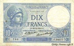 10 Francs MINERVE FRANCE  1930 F.06.14 pr.TTB