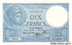 10 Francs MINERVE modifié FRANCE  1939 F.07.11 SUP+