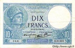 10 Francs MINERVE modifié FRANCE  1940 F.07.24 pr.SUP