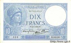 10 Francs MINERVE modifié FRANCE  1941 F.07.26 SUP+