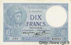 10 Francs MINERVE modifié FRANCE  1941 F.07.30 SUP+