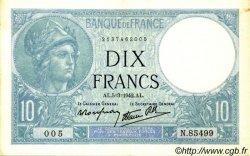 10 Francs MINERVE modifié FRANCE  1942 F.07.31 SUP+