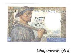 10 Francs MINEUR FRANCE  1942 F.08.04 UNC