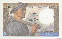 10 Francs MINEUR FRANCE  1942 F.08.04 SUP à SPL