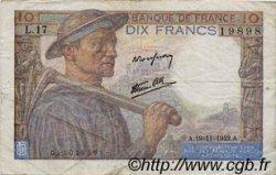 10 Francs MINEUR FRANCE  1942 F.08.05 TB