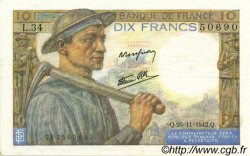 10 Francs MINEUR FRANCE  1942 F.08.06 pr.SUP