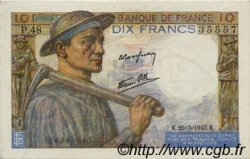 10 Francs MINEUR FRANCE  1943 F.08.08 SPL