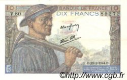 10 Francs MINEUR FRANCE  1944 F.08.11 TTB+ à SUP