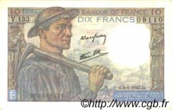 10 Francs MINEUR FRANCE  1947 F.08.17 SPL