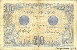 20 Francs BLEU FRANCE  1913 F.10.03 TB à TTB