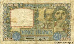 20 Francs SCIENCE ET TRAVAIL FRANCE  1940 F.12.08 pr.TB