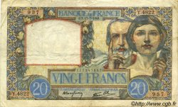 20 Francs SCIENCE ET TRAVAIL FRANCE  1941 F.12.16 TTB