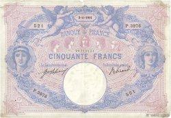 50 Francs BLEU ET ROSE FRANCE  1911 F.14.24 TB+