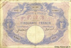 50 Francs BLEU ET ROSE FRANCE  1915 F.14.28 TB