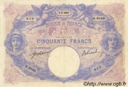 50 Francs BLEU ET ROSE FRANCE  1915 F.14.28 pr.TTB