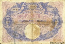 50 Francs BLEU ET ROSE FRANCE  1917 F.14.30 B+