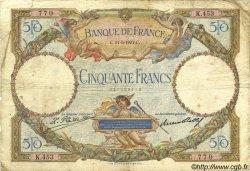 50 Francs LUC OLIVIER MERSON FRANCE  1927 F.15.01 B à TB