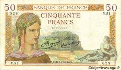 50 Francs CÉRÈS FRANCE  1934 F.17.01 TTB