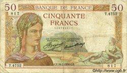 50 Francs CÉRÈS FRANCE  1936 F.17.28 B+