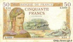 50 Francs CÉRÈS FRANCE  1936 F.17.32 TTB