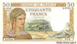 50 Francs CÉRÈS modifié FRANCE  1937 F.18.02 SPL