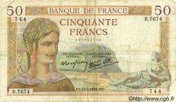 50 Francs CÉRÈS modifié FRANCE  1938 F.18.10 B+