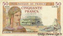 50 Francs CÉRÈS modifié FRANCE  1938 F.18.12 TTB+