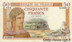 50 Francs CÉRÈS modifié FRANCE  1939 F.18.23 TTB+