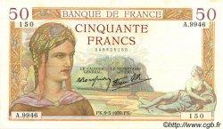 50 Francs CÉRÈS modifié FRANCE  1939 F.18.23 SUP