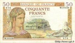 50 Francs CÉRÈS modifié FRANCE  1939 F.18.25 TTB