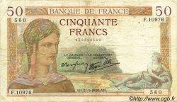 50 Francs CÉRÈS modifié FRANCE  1939 F.18.31 TB