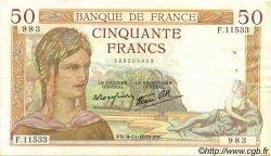 50 Francs CÉRÈS modifié FRANCE  1939 F.18.34 TTB+