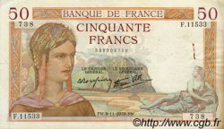 50 Francs CÉRÈS modifié FRANCE  1939 F.18.34 TTB