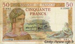 50 Francs CÉRÈS modifié FRANCE  1940 F.18.37 pr.TTB