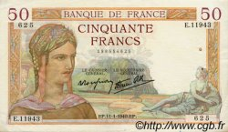 50 Francs CÉRÈS modifié FRANCE  1940 F.18.37 TTB+