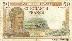 50 Francs CÉRÈS modifié FRANCE  1940 F.18.39 TB