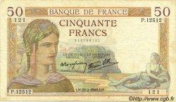 50 Francs CÉRÈS modifié FRANCE  1940 F.18.39 TB+