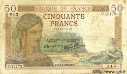 50 Francs CÉRÈS modifié FRANCE  1940 F.18.42 TB