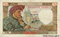 50 Francs JACQUES CŒUR FRANCE  1940 F.19 TTB