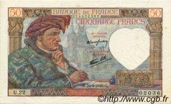 50 Francs JACQUES CŒUR FRANCE  1940 F.19.03 pr.SPL