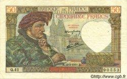 50 Francs JACQUES CŒUR FRANCE  1941 F.19.06 TTB